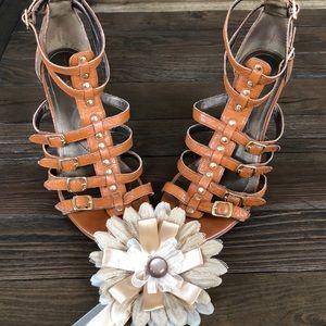 Tahari Strappy Siena  brown heeled sandal pumps